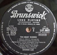 BRENDA LEE Too Many Rivers Vinyl Record LP Brunswick 1965